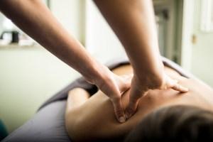 cheri's hands during a back massage