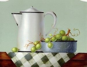 Grapes with Granite Ware by Cheri Rol