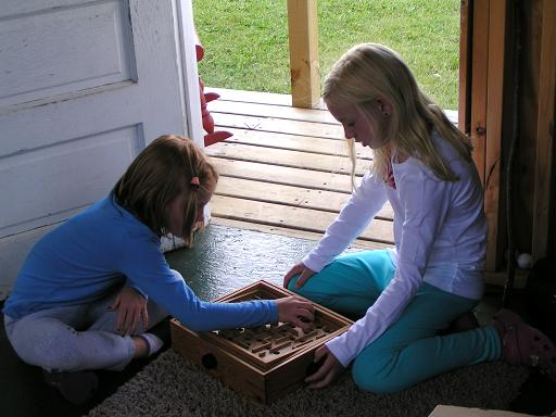 Playing an old time game.