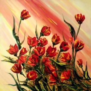 פרחים על רקע ורוד