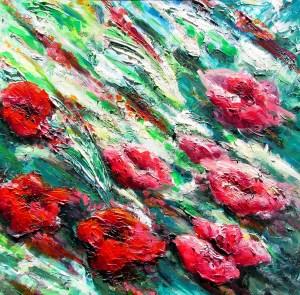 פרחים על רקע ירוק