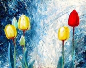 פרחים על רקע כחול