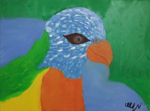 """Nickol, """"A colorful parrot"""", Oil on Canvas"""