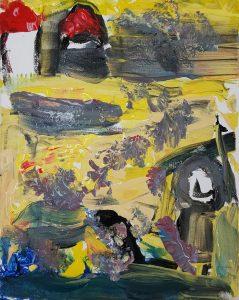 "Eilay, ""A path to the house"", Gouache on Canvas"
