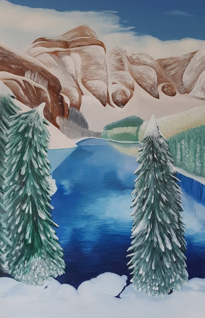 "Sophy Cherkov, ""Snowy Mountains"", Oil on Canvas"