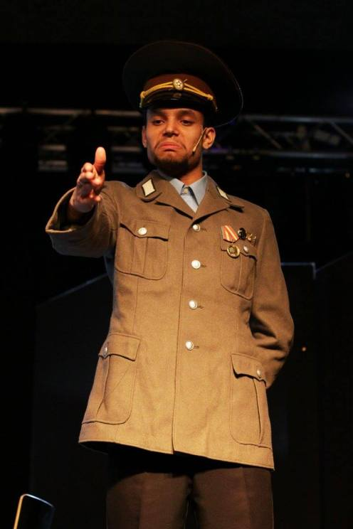 Jacob Costa as militsiya at Teateris event 3.4.2016, Turku. Photo: Riina Tiikasalo