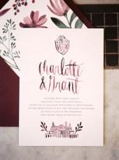 Use marsala for a romantic wedding invitation
