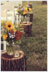 Simple outdoor ceremony for a fall wedding