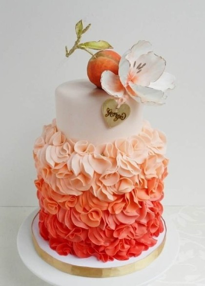 Peach and flower topper