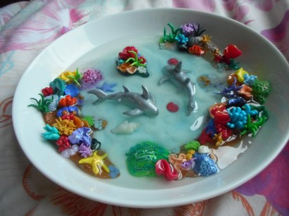 Coral reef sharks in a china bowl
