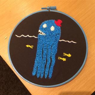 blue sea creature embroidery