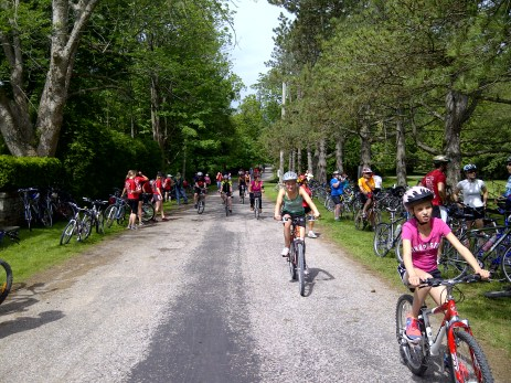 Riders arriving at 2nd Stop