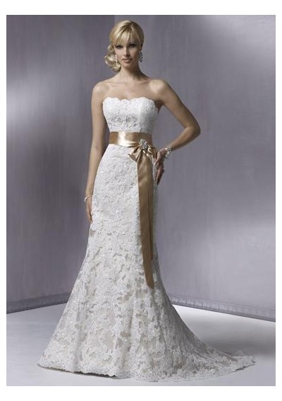 lace strapless slight mermaid wedding gown with sash