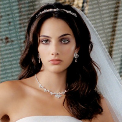 long black wedding hairstyles with veil