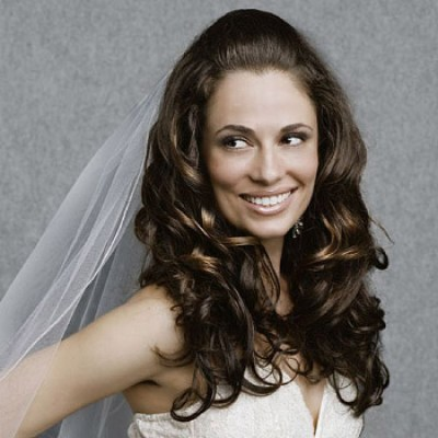 long curly wedding hairstyles with veil