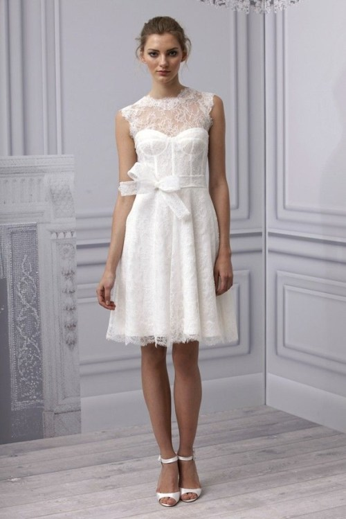 casual short lace wedding dress with sash