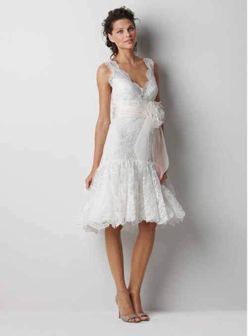 short lace country wedding dress