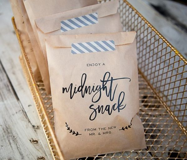 Wedding Party Midnight Snack Craft Paper Bag Favor