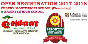 OPEN REGISTRATION 2017-2018 CHERRY MONTESSORI SCHOOL & BRIGHTEN HIGH SCHOOL