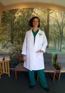 Dr Grace Cherubino in the reception room of The Spine Center
