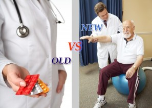 Photograph with a medical Doctor in lab coat with stethoscope around neck holding pill packs in his right hand with the photo of an older gentleman with the young holistic physician