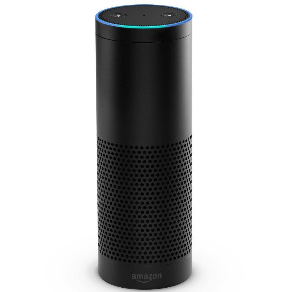 Close-up of Amazon Echo on white background