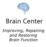 Brain center icon in blue