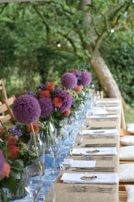 wedding reception, tablescape, pplace setting, flowers, aliums, summer, wedding, wedding photography, Cheryl Angear photography