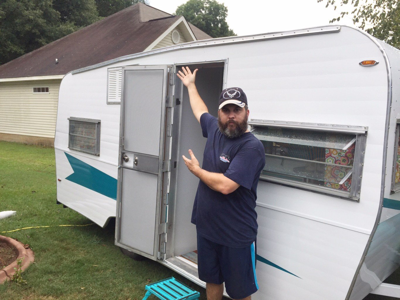 adding awning rail to vintage trailer