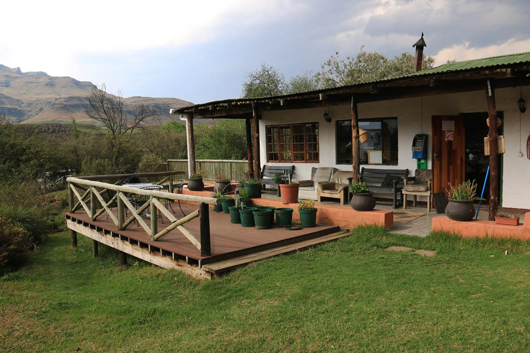 Sani Pass Backpackers Patio with herb garden