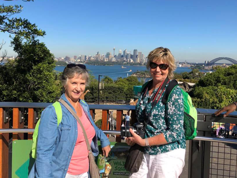 Photo of myself with a friend at Taronga Zoo overlooking Sydney