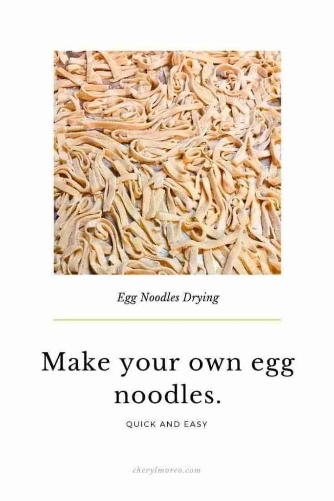 egg noodles drying
