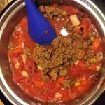 adding meat to pasta fazool