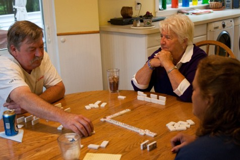 For Fleurette, spending time with family is an important part of her week. When the planned barbeque is rained out, a game of dominoes with her youngest son Sean and her daughter-in-law Anna is an acceptable alternative for a Saturday evening.