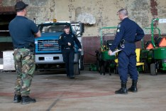 Officer Gerrish and Jerry complete the vehicle search portion of the certification exam for Explosives Detection under the watchful eyes of their trainer Kevin and Sgt. Michael Kaspereen of the Maine State Police, who is in charge of the K-9 training and certification program in Maine.