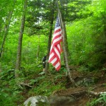 flag in the forest mt Waternomee B-18 bomber crash site NH