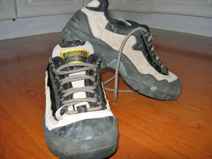 one pair low cut hiking boots