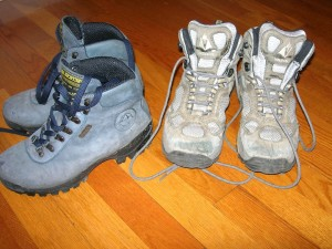 Two pairs high hiking boots