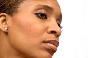 black woman strong face looking to right