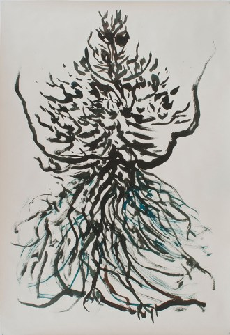 """Hybrid Goddess, watercolor & ink on paper, 72 x 50"""", 2014"""
