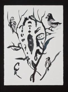 "Birds, 11.4.12.4, watercolor on paper, 30 x 22.5"", 2012"