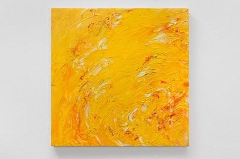 "Yellow #9, oil bar & graphite on panel, 15 x 15"", 2015"