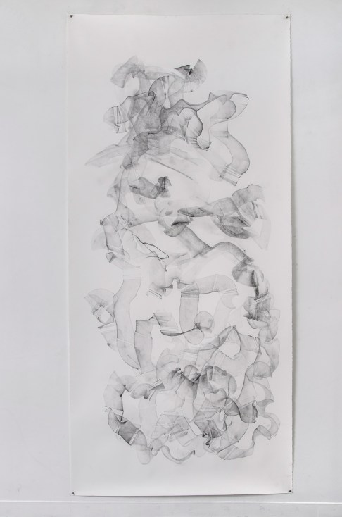"""For Emilie IV, graphite on paper, 108 x 50"""", 2014"""