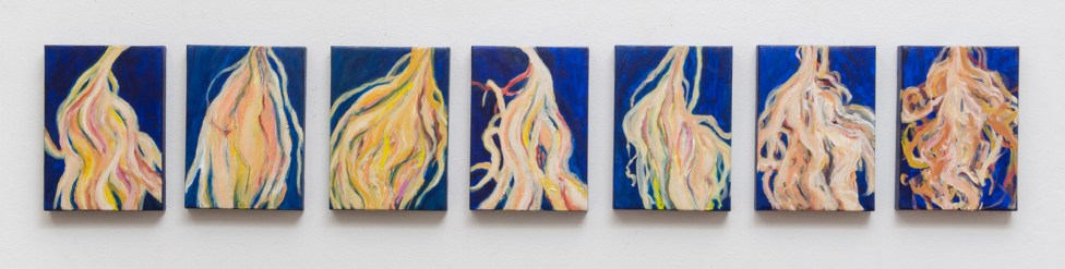 "Small Cereus, acrylic on canvas, 7 x 5"" each, 2014"