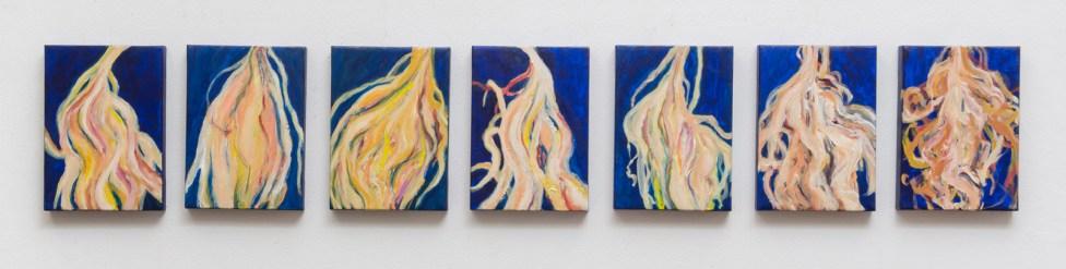 """Small Cereus, acrylic on canvas, 7 x 5"""" each, 2014"""