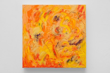 "Yellow #3, oil bar & graphite on panel, 12 x 12"", 2015"