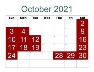 CBRM October 2021 Open Dates