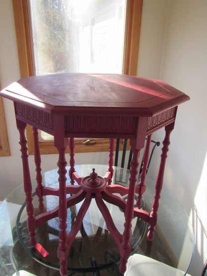 Red octagonal table