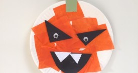 paper plate pumpkin, preschool pumpkin craft, toddler halloween craft, paper plate crafts