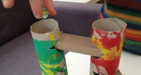 make your own marble run, cardboard tube marble run